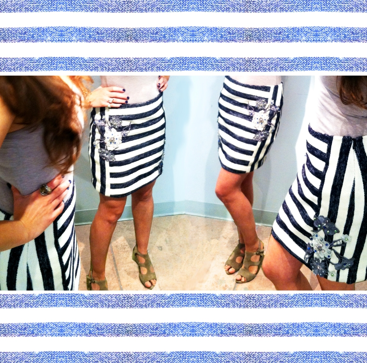 Stripe Floral Skirt